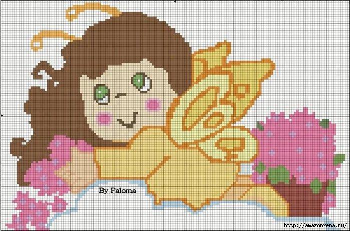 Схемы детской вышивки крестиком. Ангелочки (35) (700x461, 210Kb)