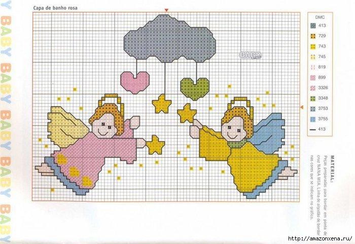 Схемы детской вышивки крестиком. Ангелочки (37) (700x481, 199Kb)