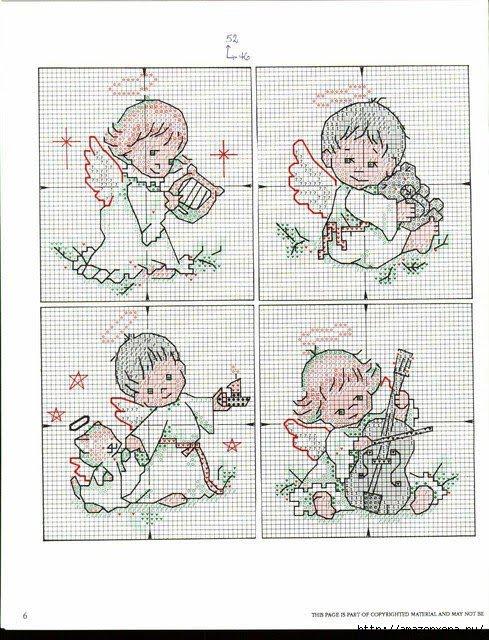 Схемы вышивки ангелочков на