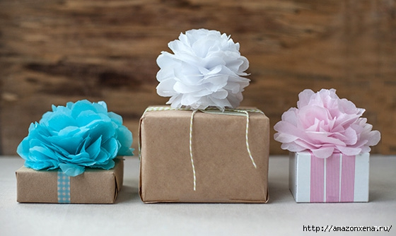 Цветы из папиросной бумаги для украшения подарков (6) (560x334, 109Kb)