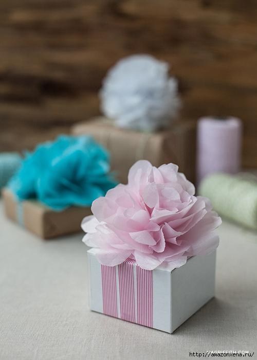 Цветы из папиросной бумаги для украшения подарков (9) (500x700, 200Kb)