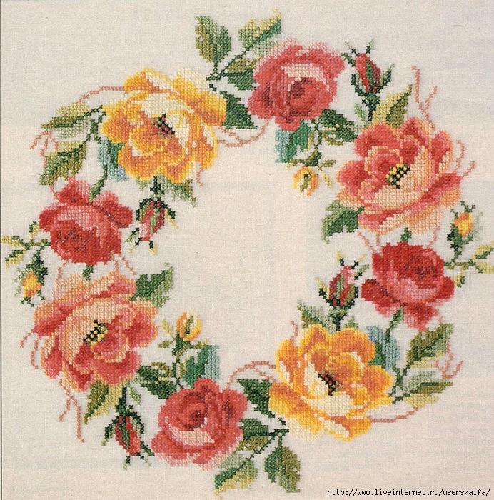 Вышивка венок цветочный