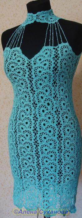 Платья из ленточного вязания крючком 5