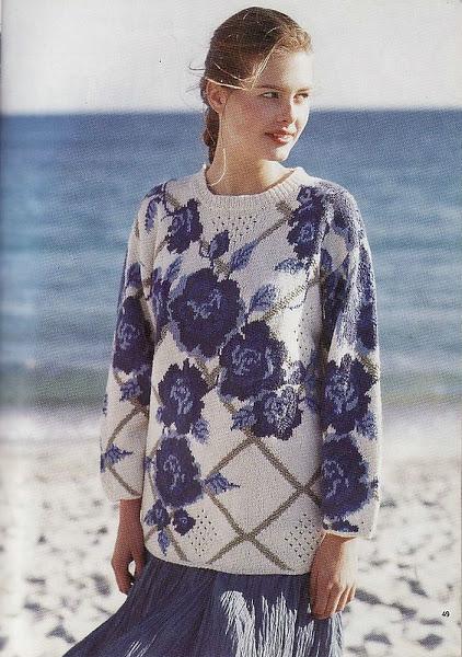 Пуловер с жаккардом Розы.
