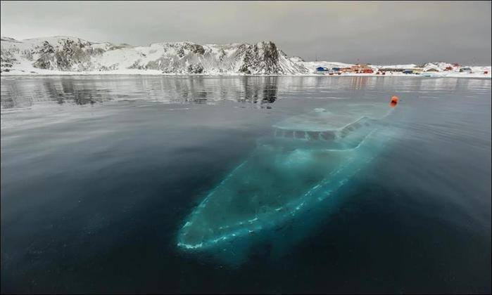 Затонувшая яхта в Антарктике (700x420, 27Kb)