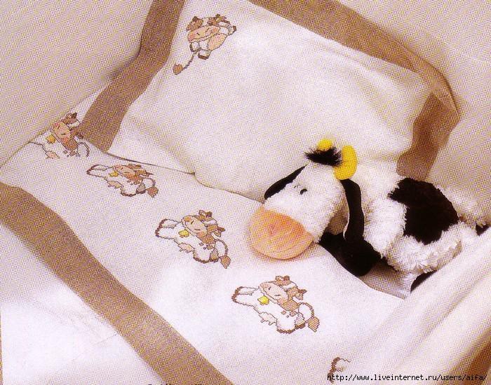 Вышивка крестиком на постельном белье