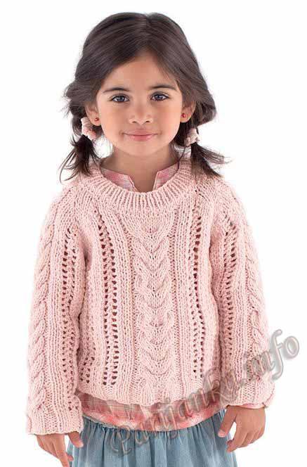 пуловер с косами для девочки (1) (437x664, 64Kb)
