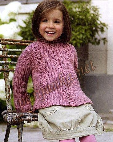 розовый пуловер для девочки (367x460, 107Kb)
