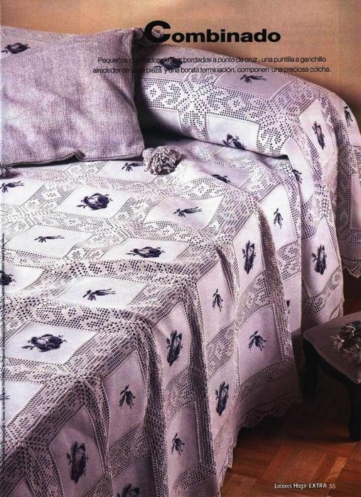 КРАСИВЕЙШИЙ ПЛЕД из ткани и филейки (508x700, 337Kb)