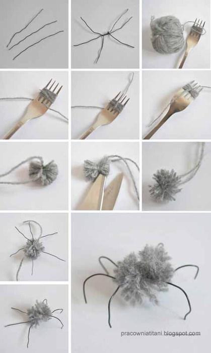Декоративная паутина из веток с пауками из помпонов (2) (419x700, 44Kb)