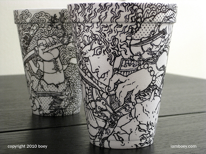 Cheeming Boey рисунки на одноразовых стаканчиках 1 (670x503, 394Kb)