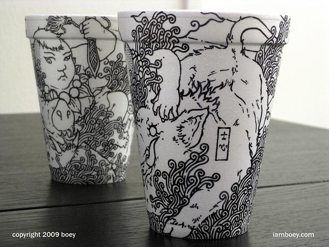 Cheeming Boey рисунки на одноразовых стаканчиках 3 (670x503, 365Kb)