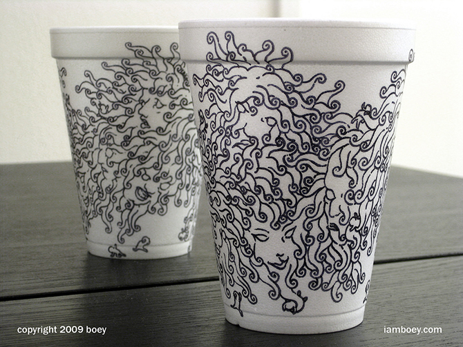 Cheeming Boey рисунки на одноразовых стаканчиках 5 (670x503, 366Kb)