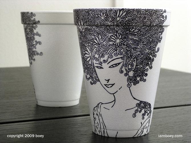 Cheeming Boey рисунки на одноразовых стаканчиках 6 (670x503, 351Kb)
