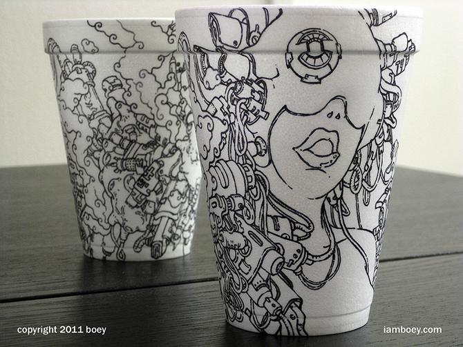 Cheeming Boey рисунки на одноразовых стаканчиках 10 (670x503, 369Kb)