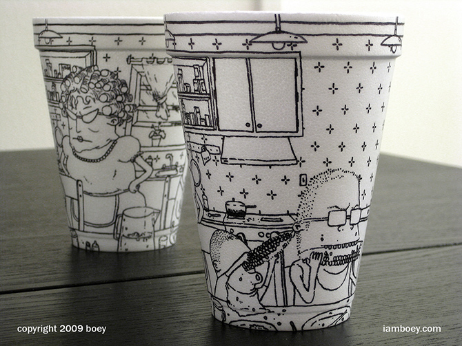 Cheeming Boey рисунки на одноразовых стаканчиках 14 (670x503, 247Kb)