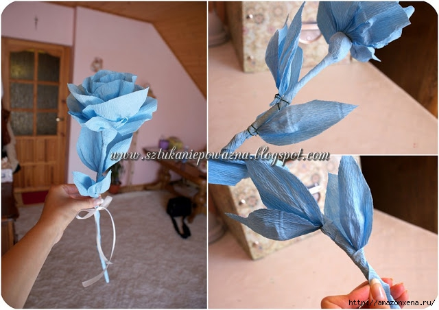 Розы из гофрированной бумаги. Фото мастер-класс (6) (640x452, 175Kb)