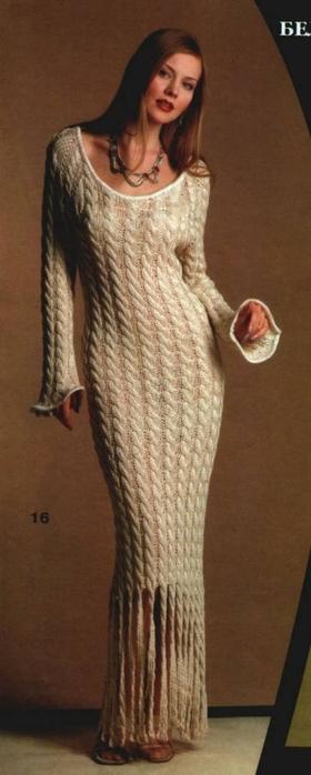 Длинное вязаное платье косами (1) (280x700, 129Kb)
