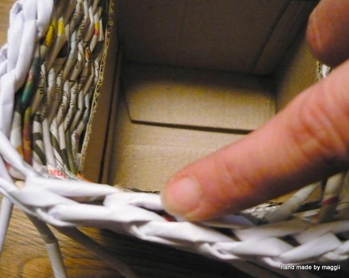 плетение из газет. корзинка с декупажем (13) (700x558, 305Kb)