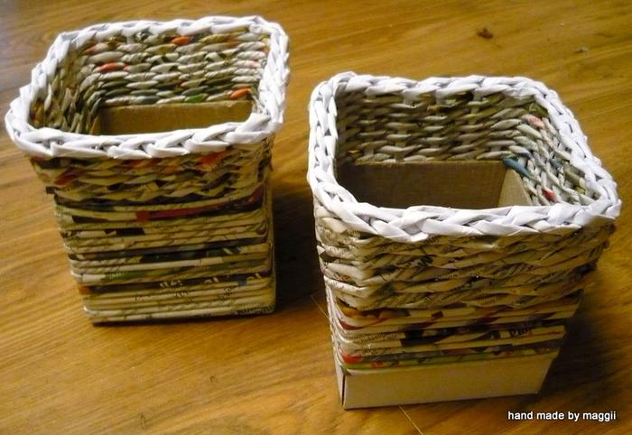 плетение из газет. корзинка с декупажем (22) (700x482, 325Kb)