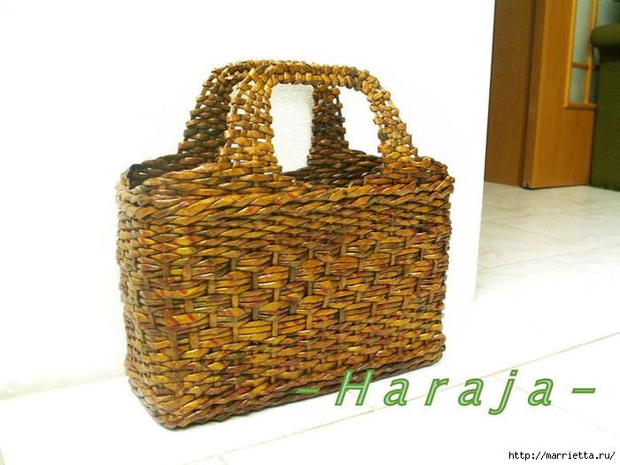сумки из газетных трубочек. плетение из газет (22) (700x525, 157Kb)