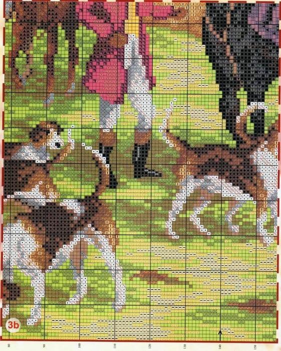 Охота на лис схема вышивки