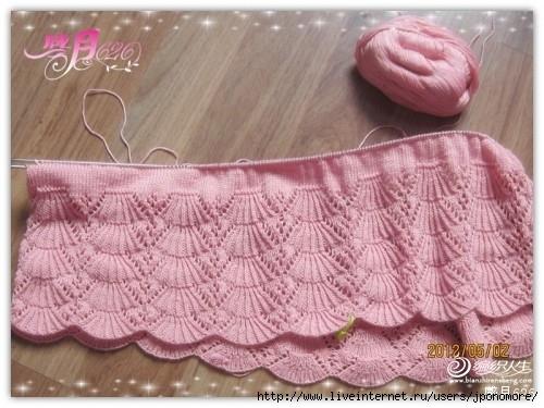 Оформление низа детского платья вязанного спицами