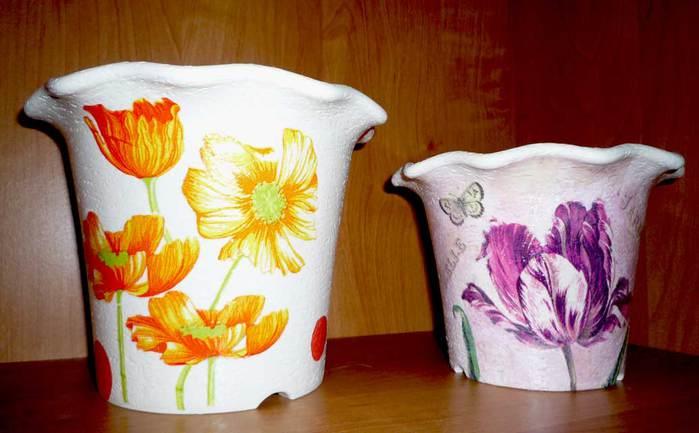 Декупаж кашпо для цветов украшаем