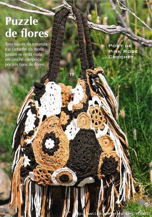 Bolsa de Croche Puzzle de Flores - PRoseCrochet (489x700, 287Kb)