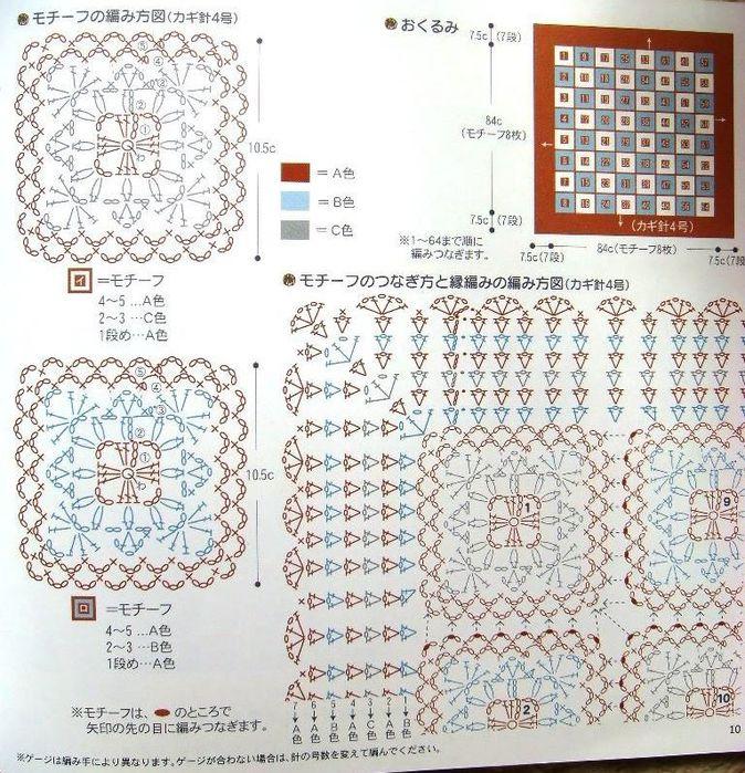 66Накидки квадратные на табуретки вязанные крючком схемы