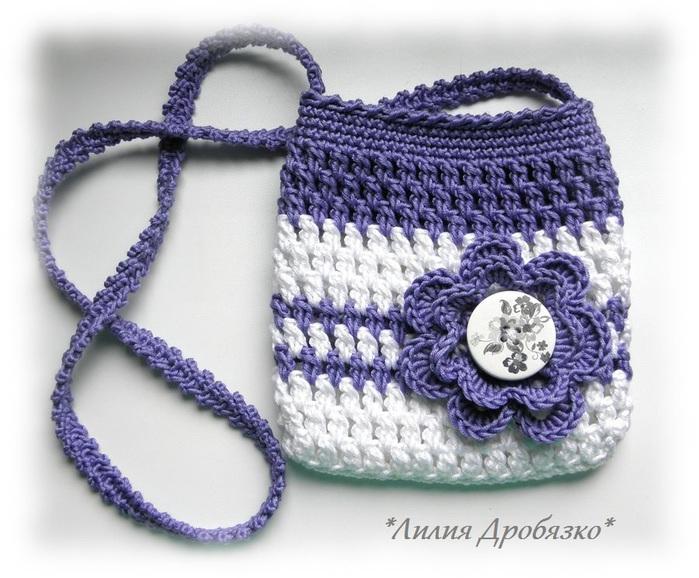 Вязаная сумка крючком для девочки