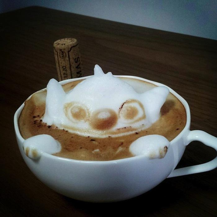рисунки на кофе фото Кацуки Ямомото 2 (699x700, 95Kb)