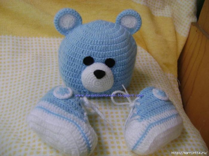 Схема вязания - ниже.  Размер шапочки рассчитан на новорожденного малыша до 6-ти месяцев.  Шапочка МЕДВЕЖОНОК для...