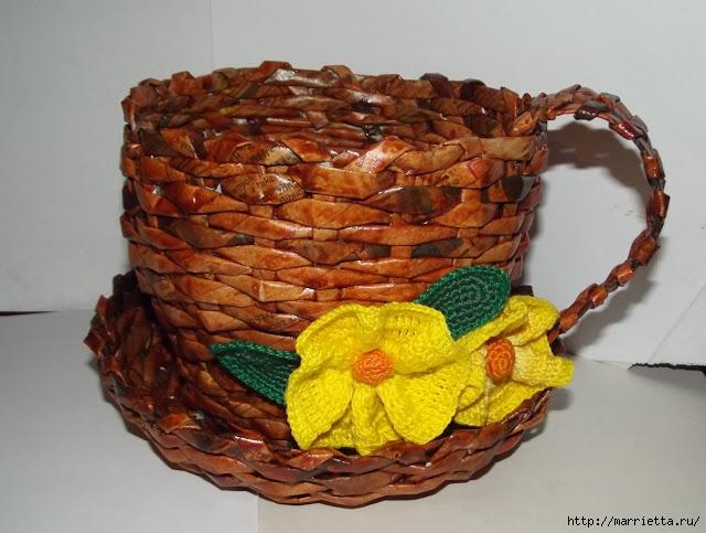 плетение из газет. чашка с блюдцем из газетных трубочек (36) (640x483, 190Kb)