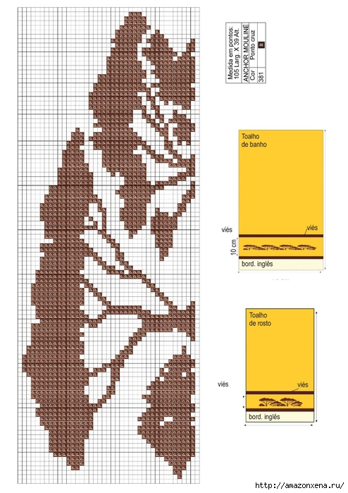 Растительная вышивка крестиком для полотенца. Схема (494x700, 241Kb)