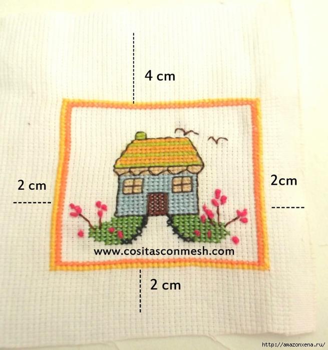 Маленькая вышивка ДОМИК. Схема вышивки домика (7) (655x700, 276Kb)