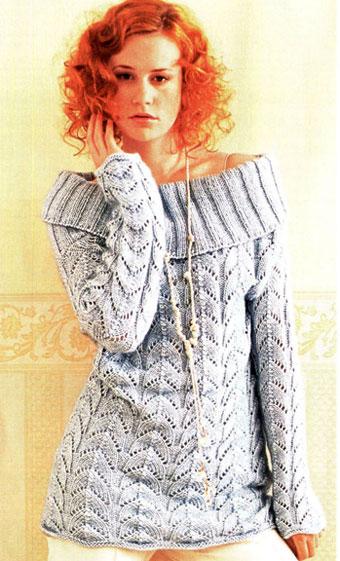 Ажурный пуловер с большим