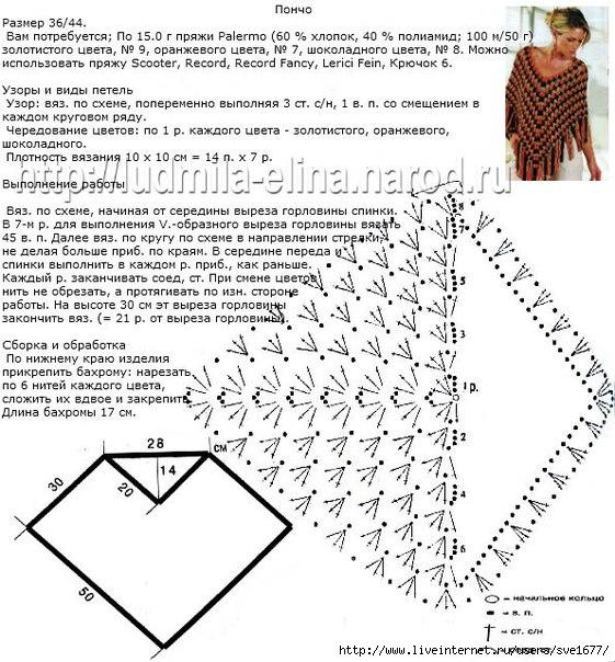 Пончо крючком схемы и описание