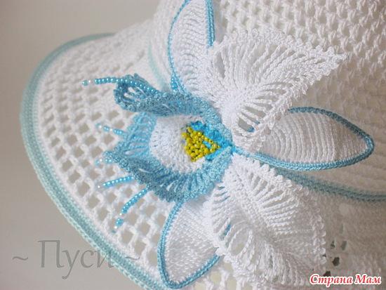 Поля шляпы.  Великолепная летняя вязаная шляпа - панама с орхидеей. схема 2, вяжем без прибавок.