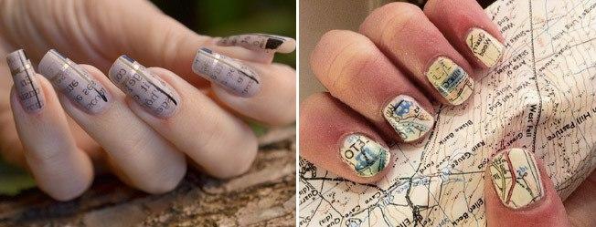 Отпечатка газеты на ногтях