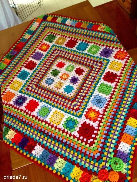 Вязание пледов из бабушкиных квадратов 2