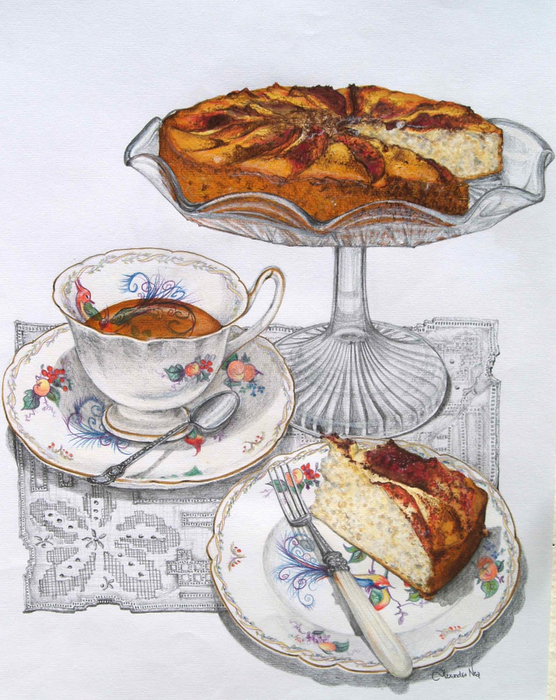Apple tea cake afternoon tea (556x700, 441Kb)