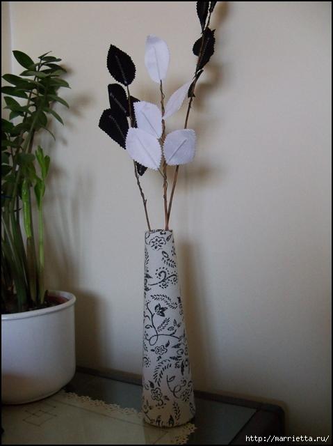 Текстильные цветы и веточки на проволоке и декор вазы тканью (10) (479x640, 209Kb)