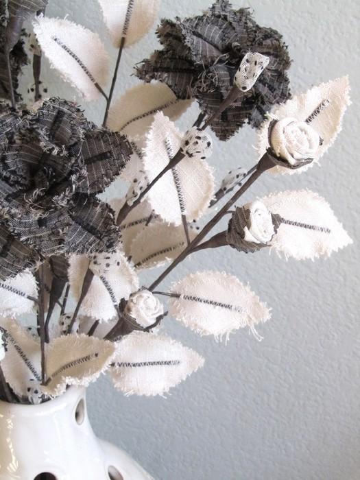 Текстильные цветы и веточки на проволоке и декор вазы тканью (16) (525x700, 106Kb)