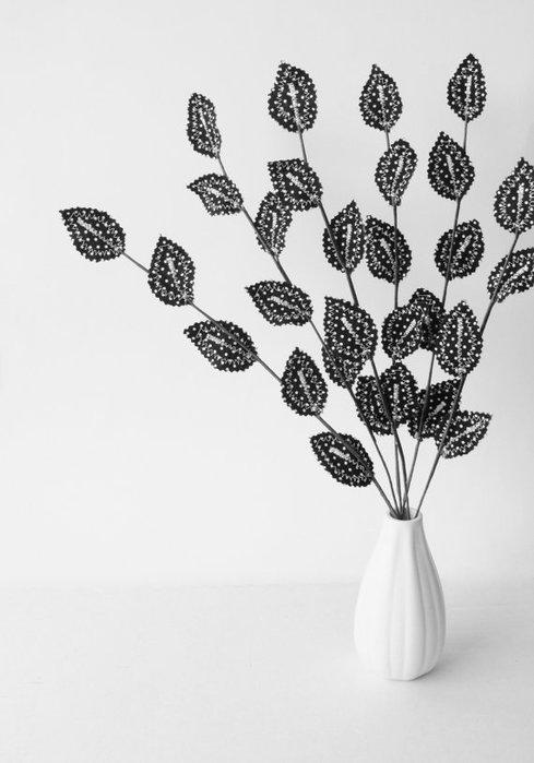 Текстильные цветы и веточки на проволоке и декор вазы тканью (44) (489x700, 47Kb)