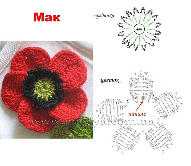 свой цитатник или сообщество!  Вязаные цветы со схемами.