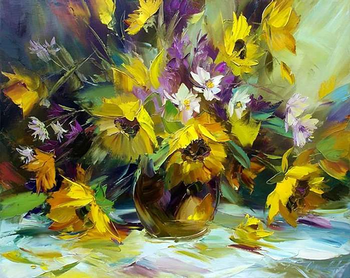 Цветы картинки нарисованные маслом 3