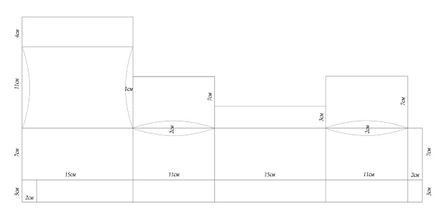 Шкатулочка из бумаги. Шаблон шкатулки (2) (640x320, 13Kb)