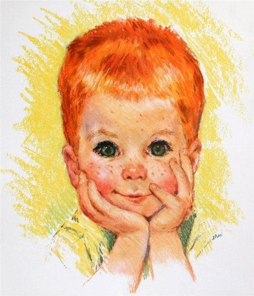 Рисунок рыжий ребенок