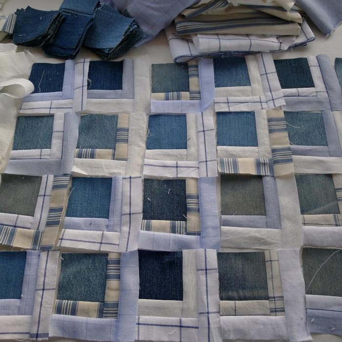 Покрывало в технике пэчворк из старых джинсов и рубашек (2) (700x700, 393Kb)